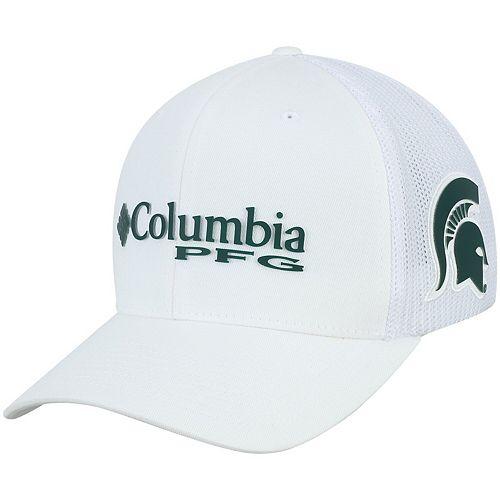 Men's Columbia White Michigan State Spartans Collegiate PFG Flex Hat