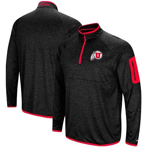 Men's Colosseum Black Utah Utes Amnesia Quarter-Zip Pullover Jacket