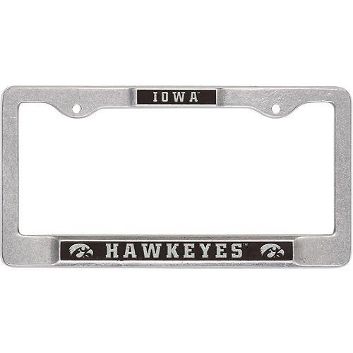 Pewter Iowa Hawkeyes Team Name License Plate Frame