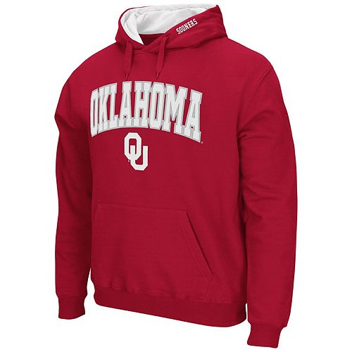 Men's Colosseum Crimson Oklahoma Sooners Arch & Logo Tackle Twill Pullover Hoodie