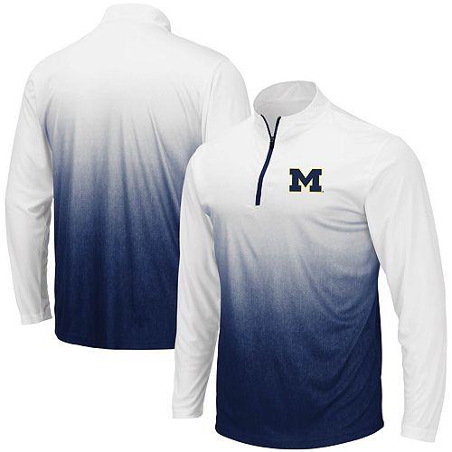 Men's Colosseum Navy Michigan Wolverines Magic Team Logo Quarter-Zip Jacket
