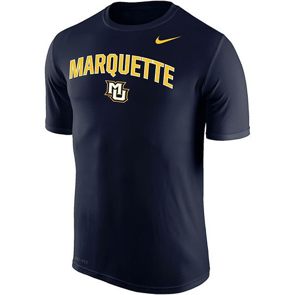 Men's Nike Navy Marquette Golden Eagles Arch Over Logo Performance T-Shirt