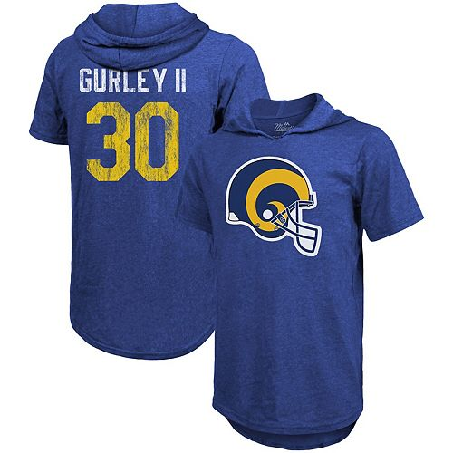 Men's Majestic Threads Todd Gurley II Royal Los Angeles Rams Tri-Blend Hooded Name & Number T-Shirt