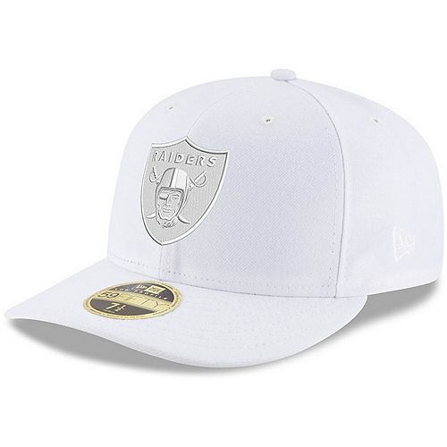 Men's New Era Oakland Raiders White on White Low Profile 59FIFTY Fitted Hat