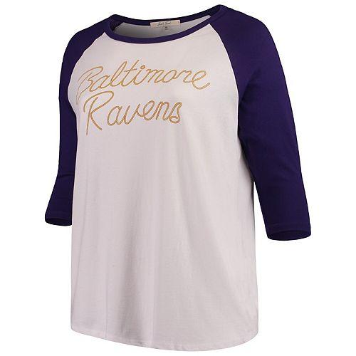 Women's Junk Food White/Purple Baltimore Ravens Plus Size Raglan 3/4-Sleeve T-Shirt