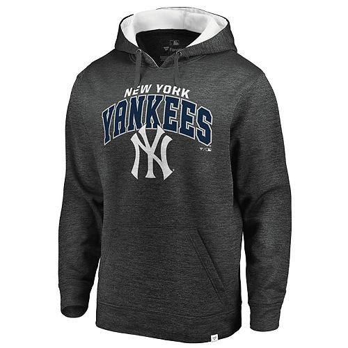 Men's Fanatics Branded Heathered Gray/White New York Yankees Steady Fleece Pullover Hoodie