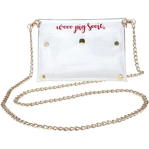 Women's Arkansas Razorbacks Clear Gold Chain Crossbody Purse
