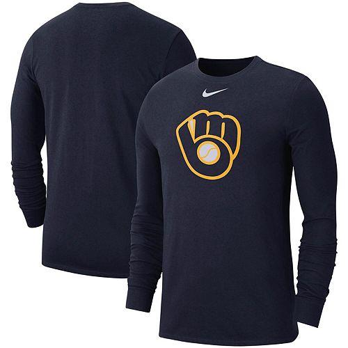 Men's Nike Navy Milwaukee Brewers Logo Performance Long Sleeve T-Shirt