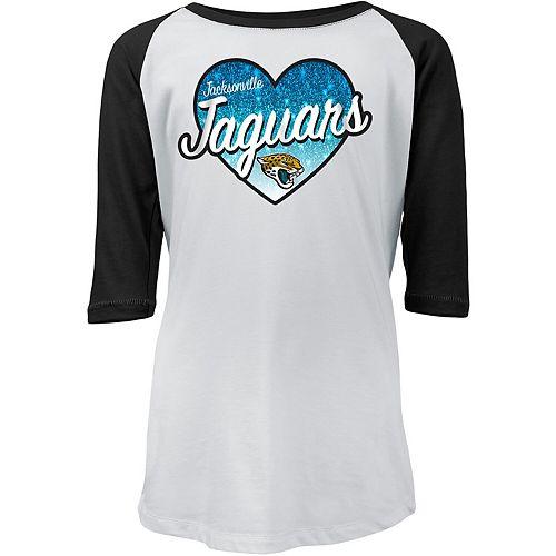 Girls Youth New Era White/Black Jacksonville Jaguars Gradient Heart Raglan 3/4-Sleeve T-Shirt