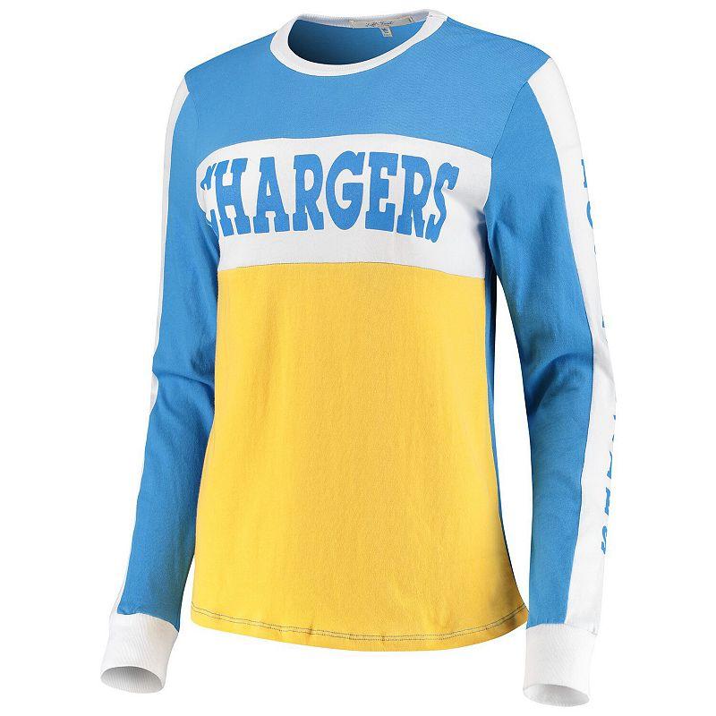 Women's Junk Food Powder Blue/Gold Los Angeles Chargers Color Block Racer Long Sleeve T-Shirt. Size: XS. Light Blue