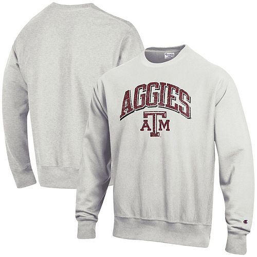 Men's Champion Gray Texas A&M Aggies Arch Over Logo Reverse Weave Pullover Sweatshirt
