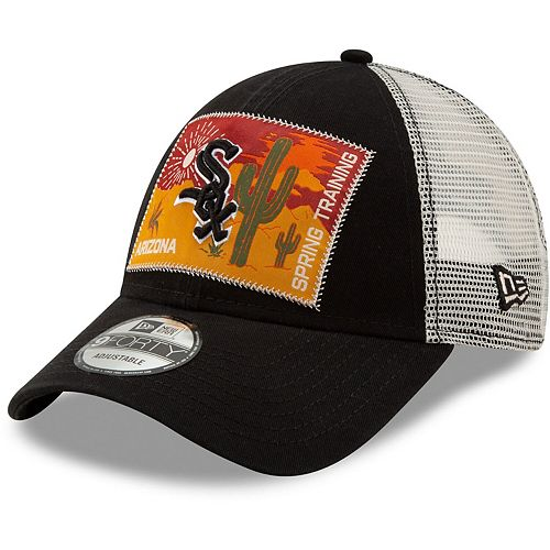 Men's New Era Black/White Chicago White Sox Patched Trucker 3 9FORTY Adjustable Snapback Hat