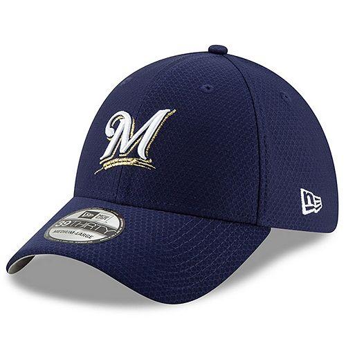 Men's New Era Blue Milwaukee Brewers 2019 Batting Practice 39THIRTY Flex Hat