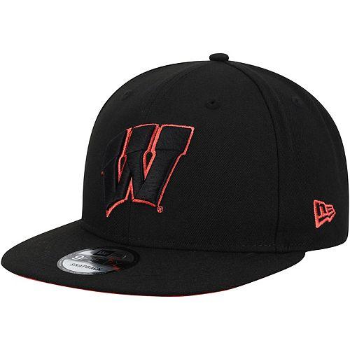 Men's New Era Black Wisconsin Badgers Neon Pop 9FIFTY Adjustable Snapback Hat