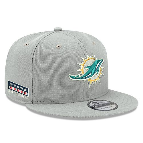 Men's New Era Gray Miami Dolphins Crafted in the USA 9FIFTY Adjustable Hat