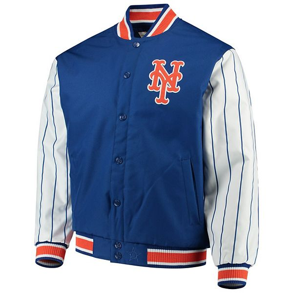 Men's JH Design Royal New York Mets Quilted Knit Jersey Lining Jacket