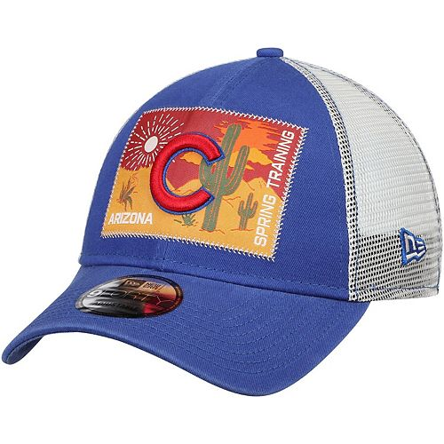 Men's New Era Royal/White Chicago Cubs Patched Trucker 3 9FORTY Adjustable Snapback Hat