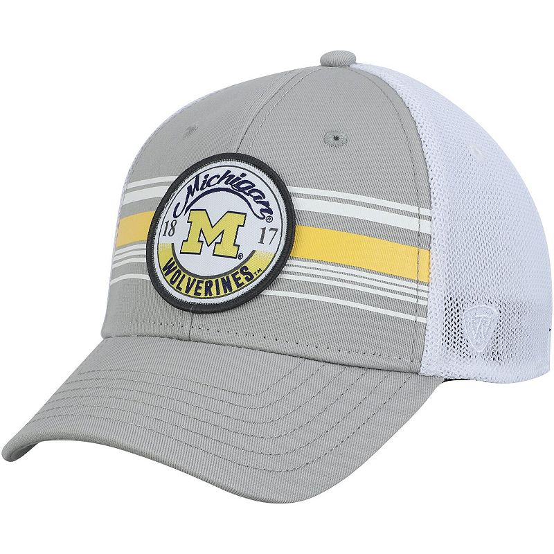 Men's Top of the World Gray/White Michigan Wolverines Castlands Meshback Flex Hat. Size: Medium/Large. Grey