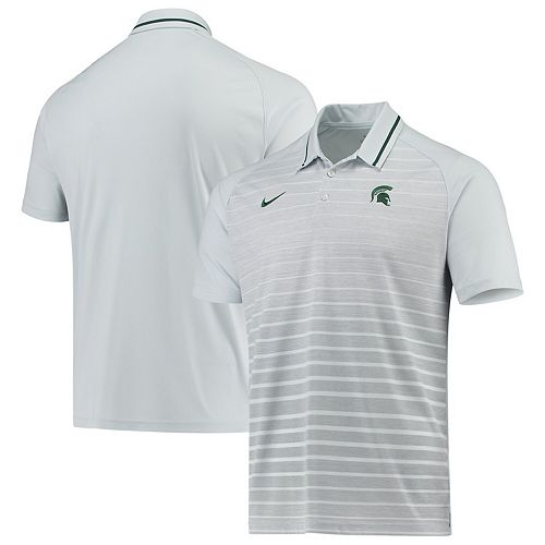 Men's Nike Gray Michigan State Spartans Stripe Performance Polo