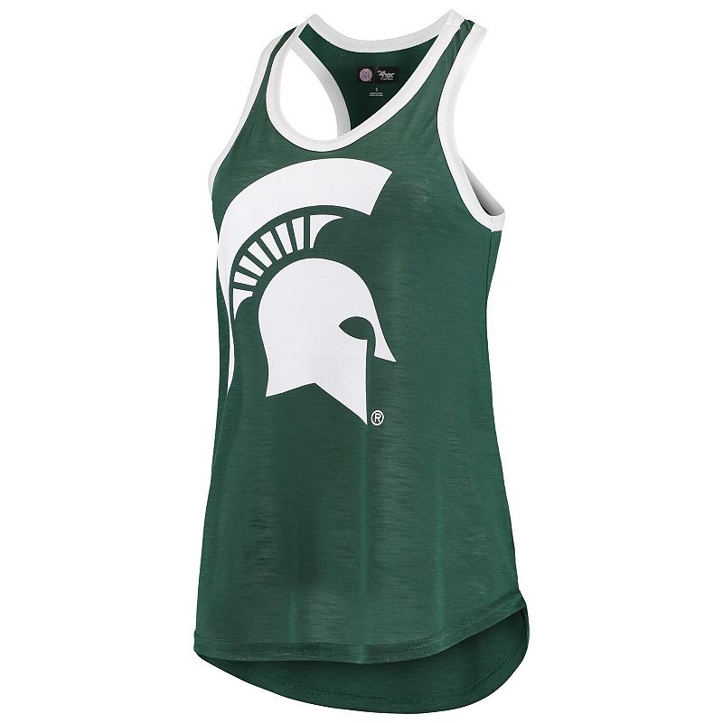 Women's G-III 4Her by Carl Banks Green/White Michigan State Spartans Tater Two-Hit Racerback Tank Top. Size: XS