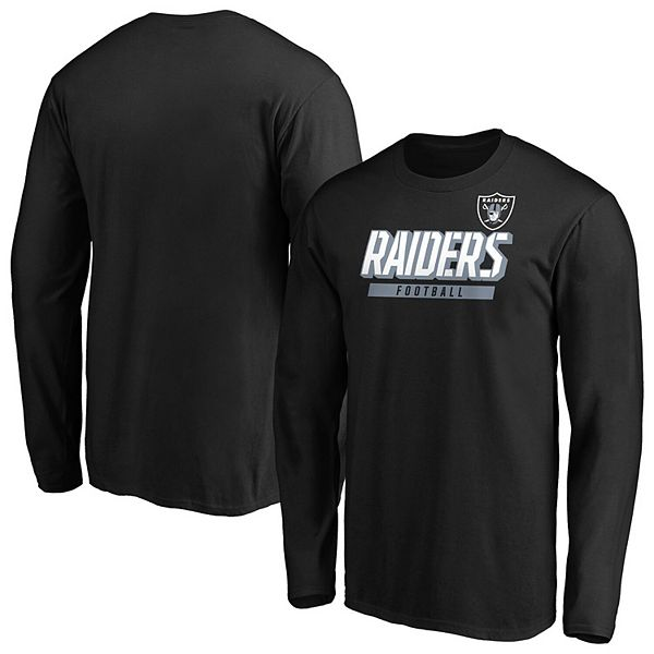 Men's Majestic Black Oakland Raiders Iconic Tricode Logo Long Sleeve T-Shirt