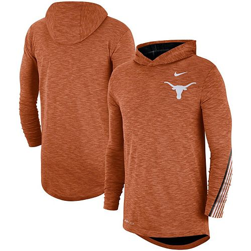 Men's Nike Burnt Orange Texas Longhorns 2019 Sideline Long Sleeve Hooded Performance Top