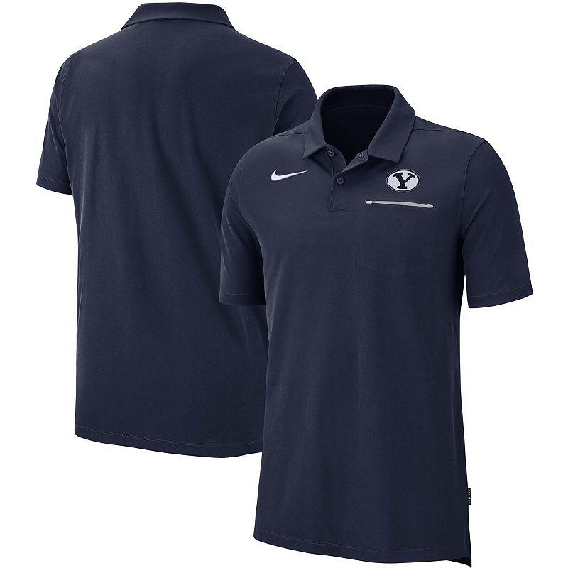 Men's Nike Navy BYU Cougars 2019 Elite Coaches Sideline Polo. Size: Large. Blue