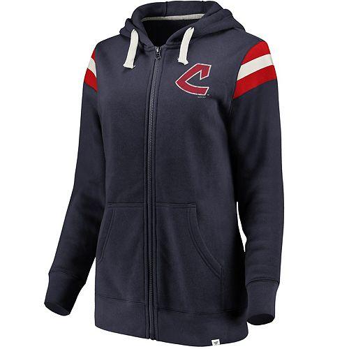 Women's Fanatics Branded Navy/Red Cleveland Indians True Classics Stripe Full-Zip Fleece Hoodie