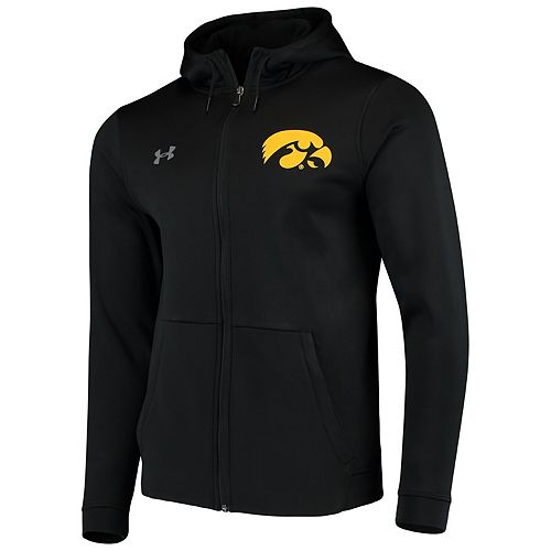 Men's Under Armour Black Iowa Hawkeyes School Logo Full-Zip Hoodie