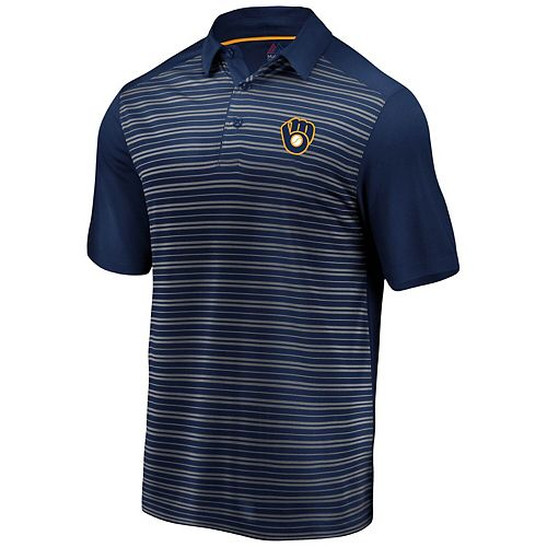 Men's Majestic Navy Milwaukee Brewers And Then Some Polo