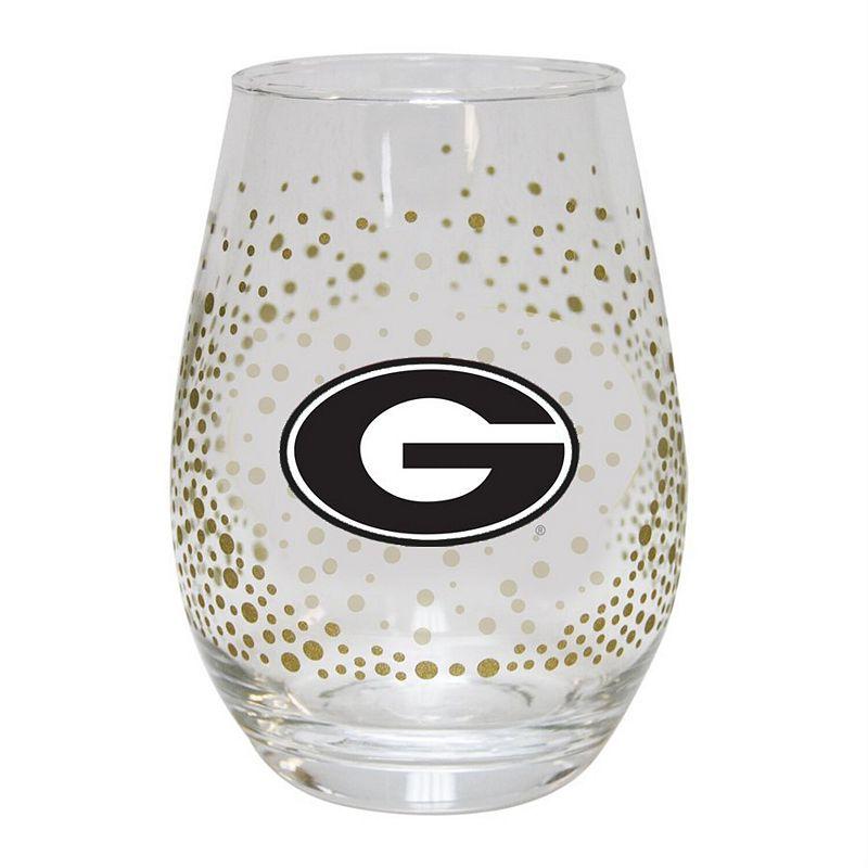 Georgia Bulldogs Glitter Stemless Tumbler. Multicolor