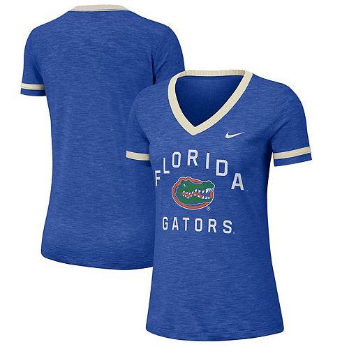Women's Nike Heathered Royal Florida Gators Performance Cotton Slub Retro Fan V-Neck T-Shirt