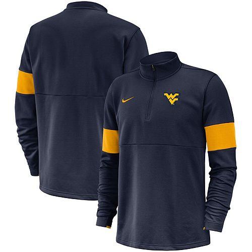 Men's Nike Navy West Virginia Mountaineers 2019 Coaches Sideline Performance Half-Zip Pullover Jacket