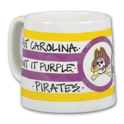 ECU Pirates 16oz Team Logo Striped Artwork Mug
