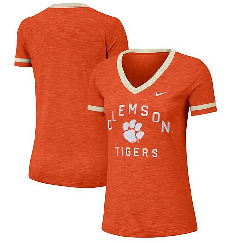 Women's Nike Orange Clemson Tigers Performance Slub Retro Fan V-Neck T-Shirt