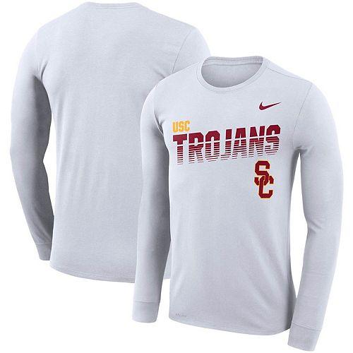 Men's Nike White USC Trojans Sideline Legend Long Sleeve Performance T-Shirt