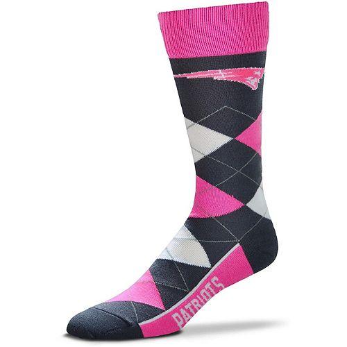 For Bare Feet New England Patriots Line Up Argyle Melange Socks