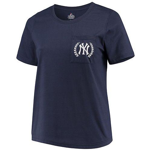 Women's Majestic Navy New York Yankees Plus Size Scoop Neck Pocket T-Shirt