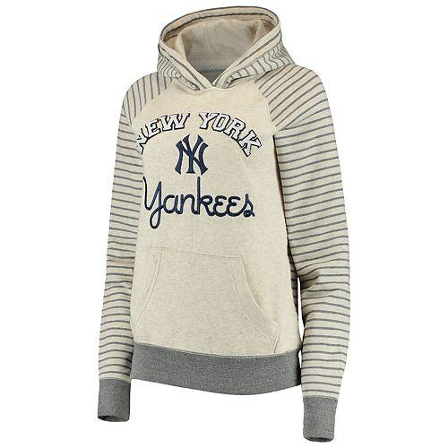Women's Soft as a Grape Cream/Gray New York Yankees Ultra Plush Striped Sleeve Pullover Hoodie