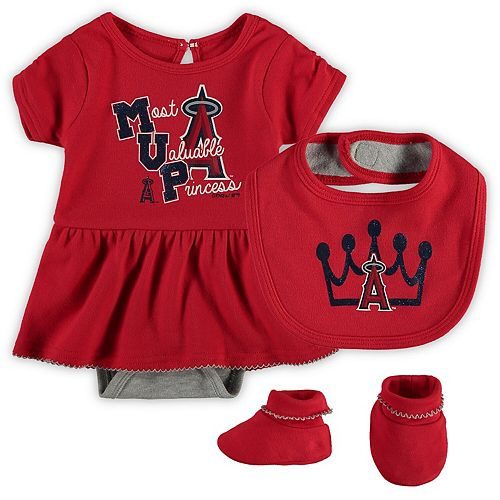 Girls Newborn & Infant Red Los Angeles Angels Diamond Bodysuit, Bib & Booties Set