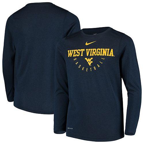 Youth Nike Navy West Virginia Mountaineers Basketball Performance Long Sleeve Shooting T-Shirt