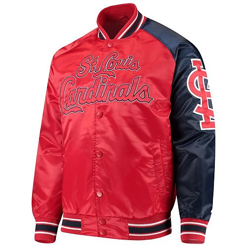 Men's G-III Sports by Carl Banks Red/Navy St. Louis Cardinals Starter Dugout Spring Training Raglan Full-Snap Jacket