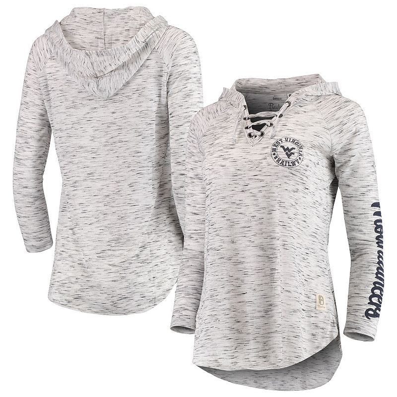 Women's Pressbox Heathered Gray West Virginia Mountaineers Kate Space Dye Lace-Up Long Sleeve T-Shirt. Size: Small. Grey