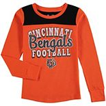 Girls Youth 5th & Ocean by New Era Orange Cincinnati Bengals Glitter Football Long Sleeve T-Shirt