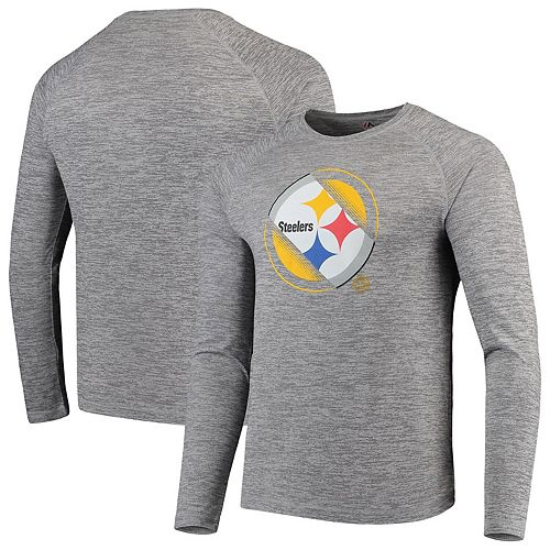 wholesale dealer 49fe4 db288 Men's NFL Pro Line by Fanatics Branded Heathered Gray Pittsburgh Steelers  Iconic Vital to Success Synthetic Long Sleeve Raglan T-Shirt