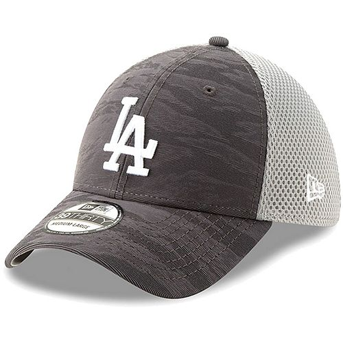 Los Angeles Dodgers New Era Camo Front 39THIRTY Flex Hat - Charcoal