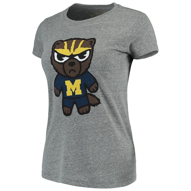 Women's Original Retro Brand Heathered Gray Michigan Wolverines Tokyodachi Tri-Blend T-Shirt. Size: 2XL. Grey