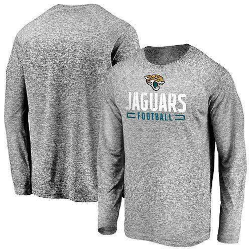 Men's Majestic Gray Jacksonville Jaguars Iconic Engage Stack Raglan Long Sleeve T-Shirt