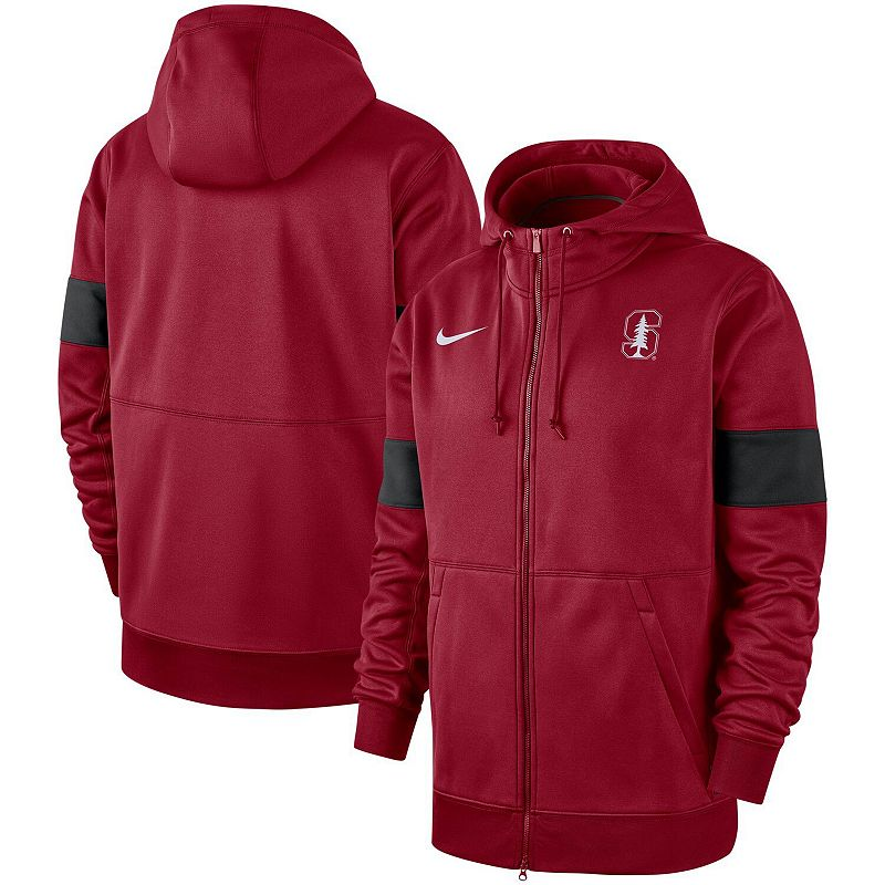 Men's Nike Cardinal Stanford Cardinal 2019 Sideline Performance Full-Zip Hoodie, Size: 2XL, Red