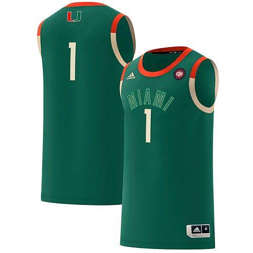 Men's adidas #1 Green Miami Hurricanes Harlem Renaissance Swingman Jersey